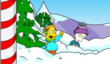 Springfield snow fight avec les Simpson